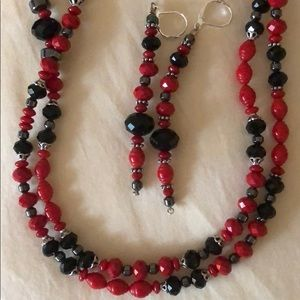 Handmade Red/Black Necklace and Earrings